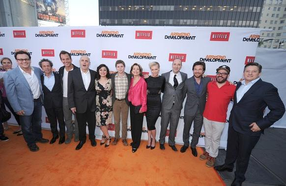 """Arrested Development"" streams on Netflix starting May 26. The show took a seven-year break before being revived by the company. <br><br> Here, producer Mitchell Hurwitz, left, producer Brian Grazer, actor Will Arnett, actor Jeffrey Tambor, actress Alia Shawkat, actor Michael Cera, actress Jessica Walter, actress Portia de Rossi, actor Tony Hale, actor Jason Bateman, actor David Cross and Ted Sarandos, chief content officer of Netflix arrive at the Los Angeles premiere."