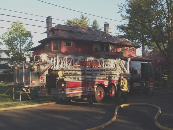 Hartford firefighters respond to a fire at 145 Oxford Street on Thursday morning.