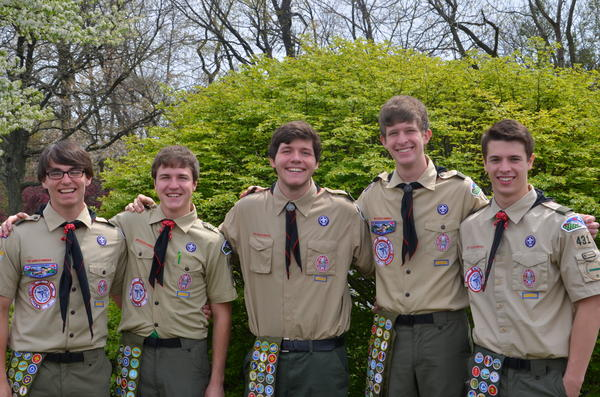 Five Eagle Scouts, from left to right, Seth Workman, Joshua Light, Andrew Kaiser, Justin McTish, Michael Smerker, were honored recently.
