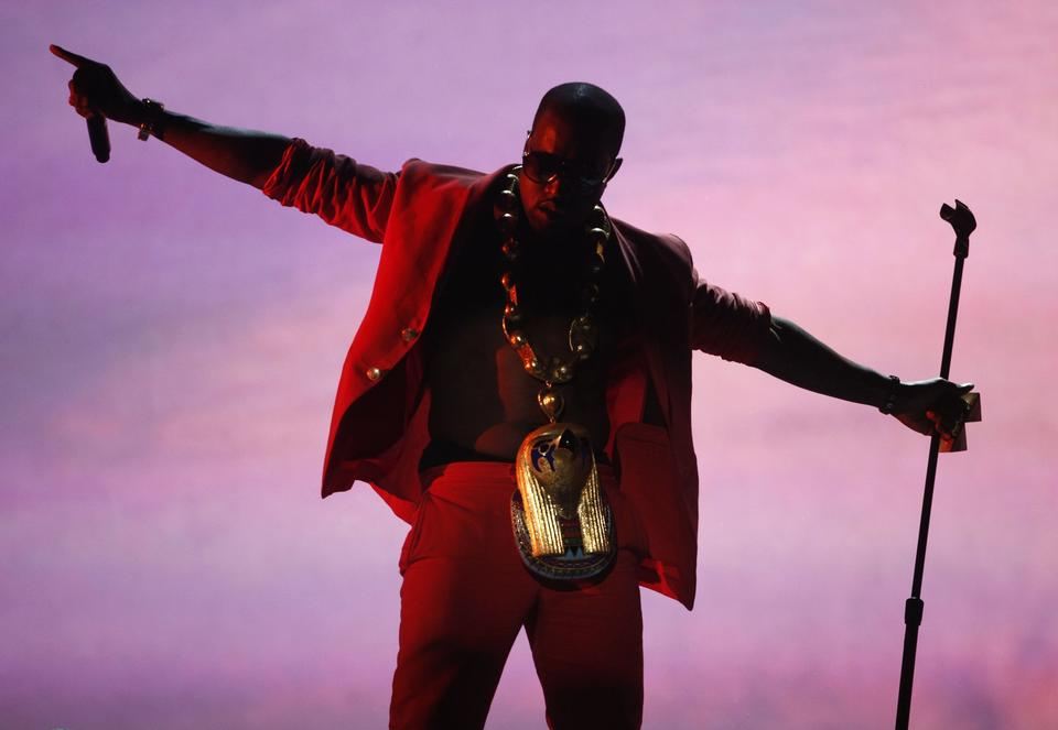 Kanye West performs at the 2010 BET Awards in Los Angeles.