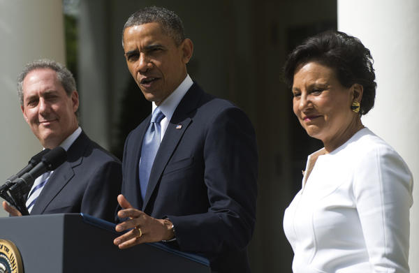 President Barack Obama announces his nominee for Secretary of Commerce, Penny Pritzker, right, and his nominee for U.S. Trade Representative, Mike Froman, left, during an event in the Rose Garden of the White House today.
