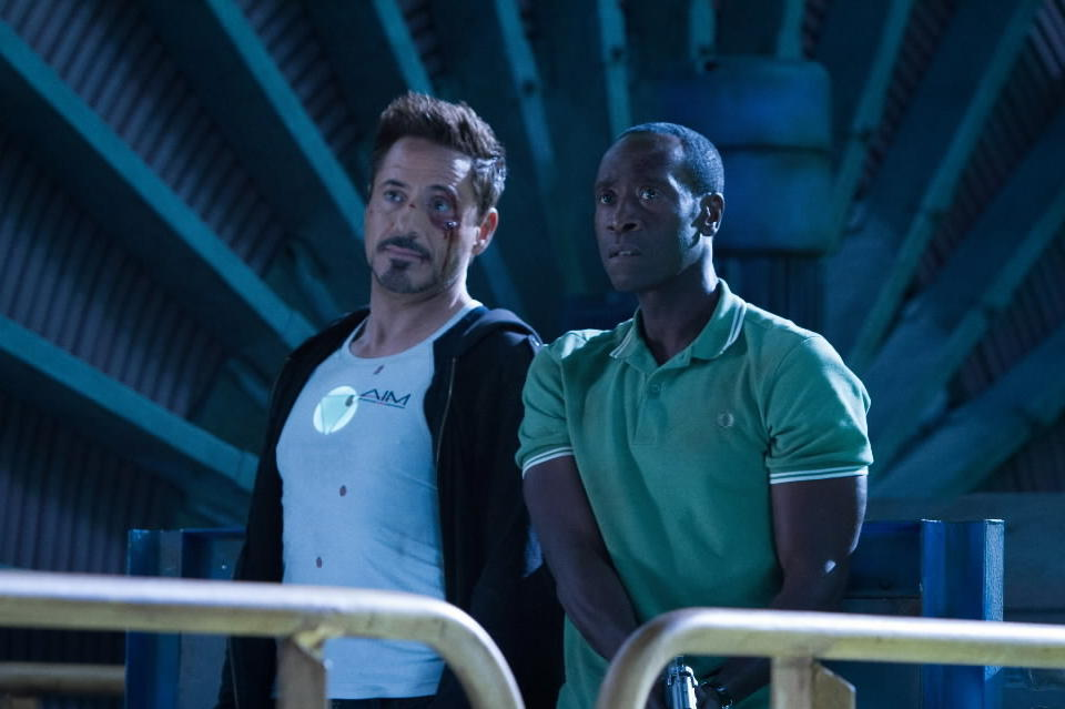 """<b>PG-13; 2:09 running time</b><Br><br>A strange detail: In """"Iron Man 3,"""" Stark no longer needs to be in the Iron Man suit. He's able to operate the thing remotely when needed. The movie's like that too. It's decent superhero blockbustering, but rather remote and vaguely second-hand. At this point, even with Black's flashes of black humor, the machinery is more or less taking care of itself, offering roughly half of the genial wit and enjoyment of the first """"Iron Man."""" -- Michael Phillips<br><br><a href=http://www.chicagotribune.com/entertainment/movies/sc-mov-0430-iron-man-3-20130501,0,2748939.column>Read the full """"Iron Man 3"""" movie review</a>"""