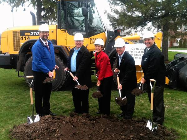 Arlington Heights village officials broke ground last week on major road improvements. Shown, from left, are Mike Pagones, deputy director of engineering and the project manager; Trustee Bert Rosenberg; Mayor Arlene Mulder; Mayor-elect Thomas Hayes and Jim Massarelli, director of engineering.