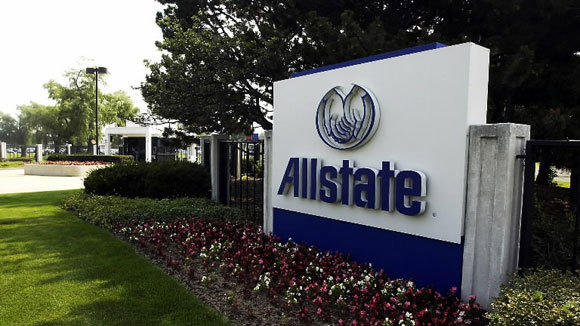 The Allstate headquarters sign on Sanders Road in Northbrook.