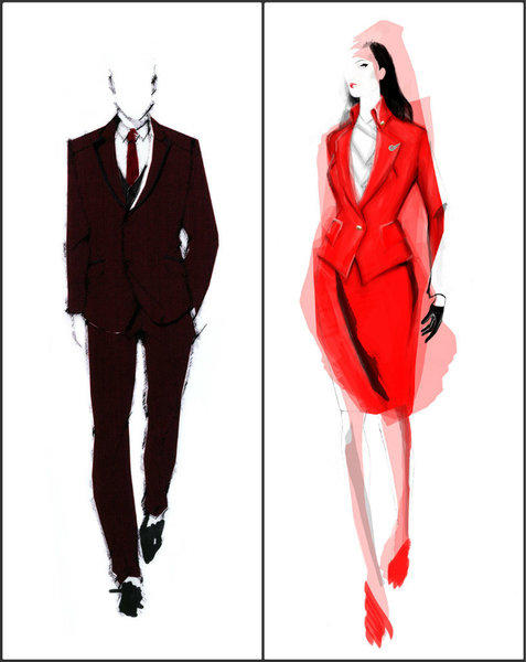 Sketches of Vivienne Westwood-designed Virgin Atlantic uniforms for men and women. More than 7,500 airline staff members will receive new, eco-friendly uniforms in 2014.