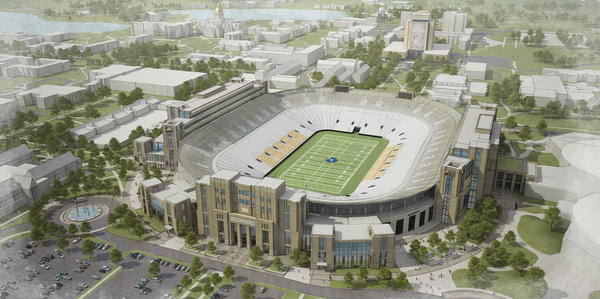An architect's rendering of what Notre Dame Stadium might look like if additions are added to make it a hub for student life and academic activities. (Illustration provided/University of Notre Dame)