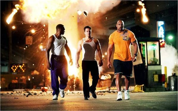 "Anthony Mackie, Mark Wahlberg and Dwayne Johnson in ""Pain & Gain."""