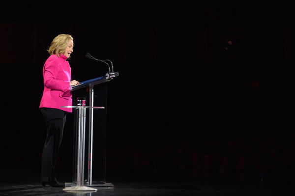 Former Secretary of State Hillary Rodham Clinton speaks at the Women in the World Conference in New York.