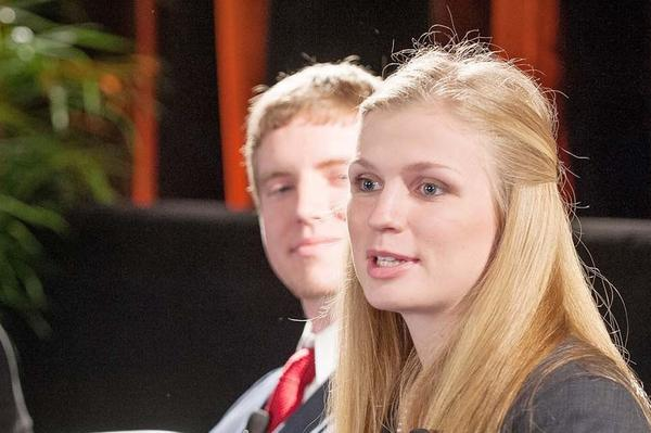 Petoskey High graduate Heather Waldron (right) presents her views on how her education has prepared her in front of 500 educators, business leaders, and policy-makers at the 2013 Governor's Summit on Education. Other college student panelists include (from left) Kathryn Danielson, Andrew Sierra, and Eric McCormick.