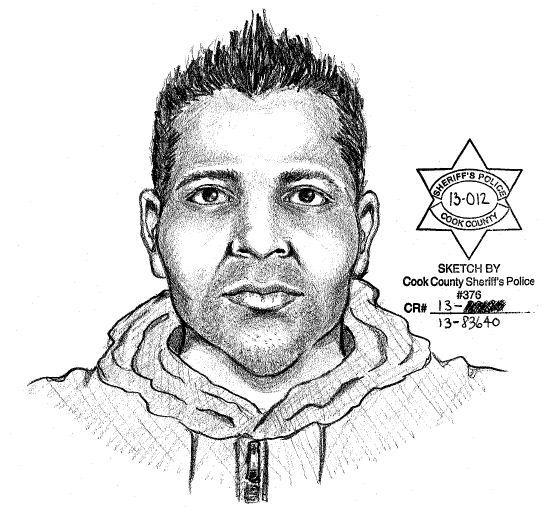 A sketch of a man who allegedly attempted to drag a 12-year-old girl into a wooded area near Des Plaines.