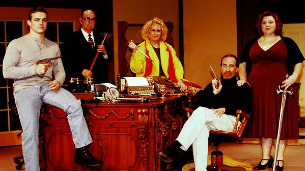 "From left, Ryan Smith, Hank DeLorme, Jan Sheldon, J. Scott Berry and Denise Truscott in the Melon Patch Players' production of ""Deathtrap."""