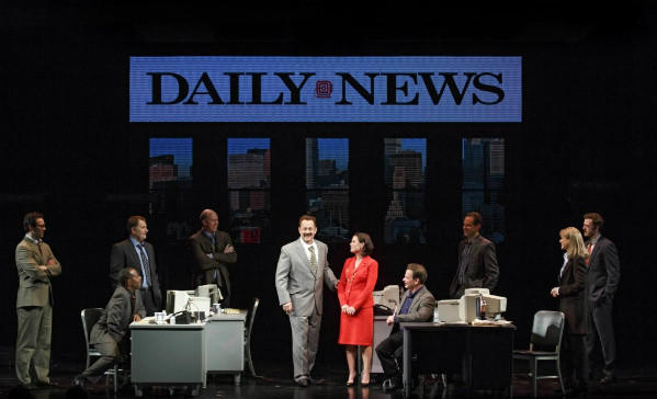"Tom Hanks, center, in a scene from the play ""Lucky Guy,"" written by Nora Ephron. The production is running at the Broadhurst Theatre in New York."