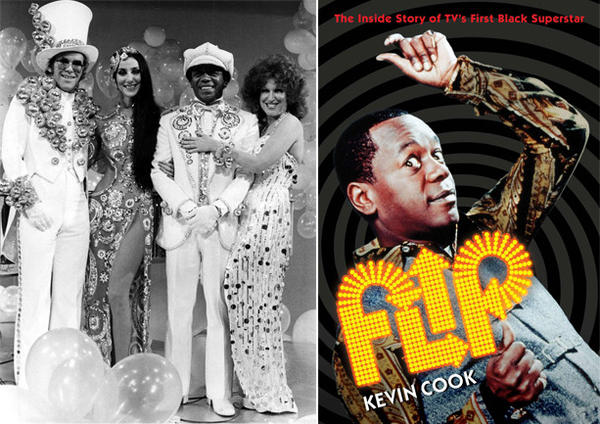 "The resplendent foursome of Elton John, left, Cher, Wilson and Bette Midler gathers in the mid-'70s. It was television that made Wilson, who died in 1998, a household name. At right, the cover of the book ""Flip,"" by Kevin Cook."