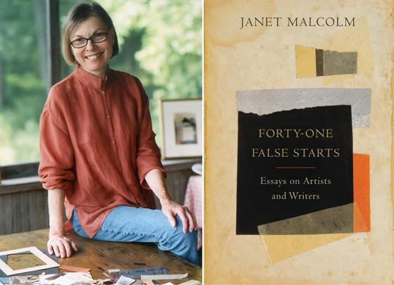 "Author Janet Malcolm and the cover of her book, ""Forty-One False Starts""."