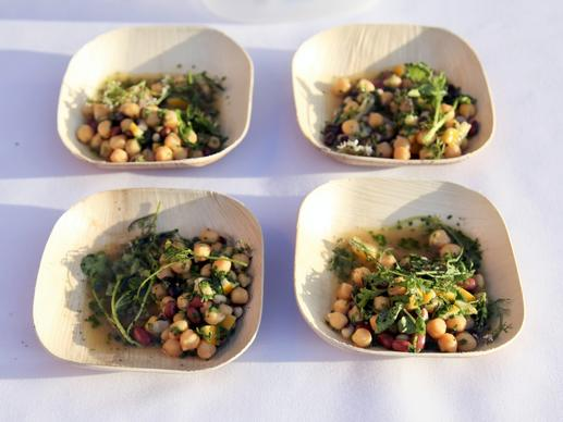 Chickpeas, black-eyed peas, pinto beans and black beans dressed with brown butter, Meyer lemon and herbs.
