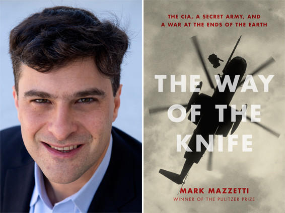 "Author Mark Mazzetti and the cover of ""The Way of the Knife""."