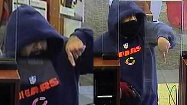 """Surveillance photos of a bank robbery suspect dubbed the """"Bully Bandit."""""""
