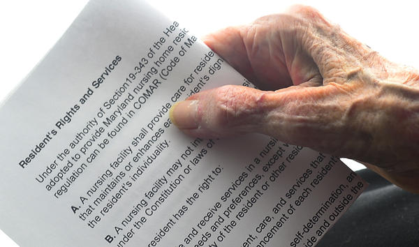 This photo illustration shows a copy of nursing home residents rights, which were established in 1987 by an act of Congress.
