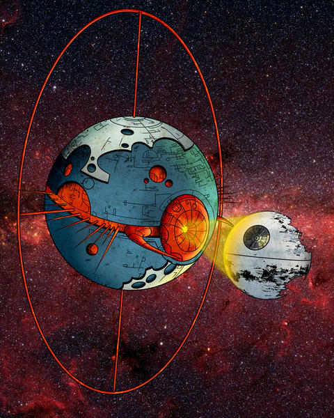 """Unicron VS The Deathstar"" was created by converting hand-drawing to digital media by the artist Maus."