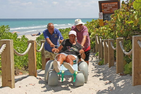 Paul and Bernadette Siciliano and their friend, Vinny Traino, have found that improvements to South Beach Park that left less boardwalk have made it an impediment for them.