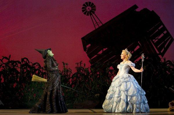 "Anne Brummel and Natalie Daradich in the Broadway musical ""Wicked."""