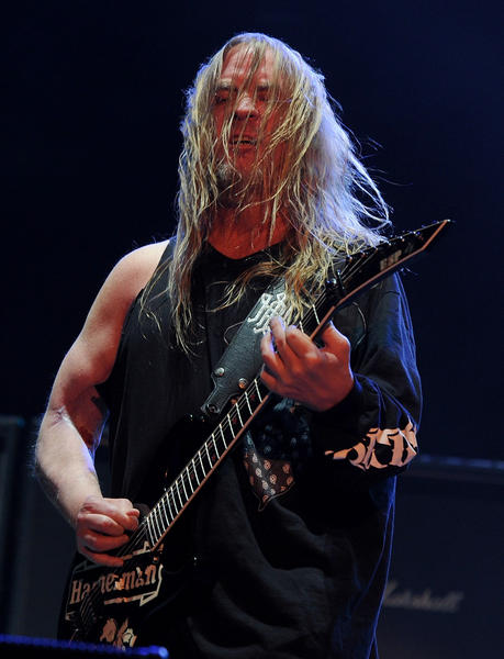 Musician Jeff Hanneman of Slayer performs onstage during The Big 4 held at the Empire Polo Club on April 23, 2011 in Indio, California.