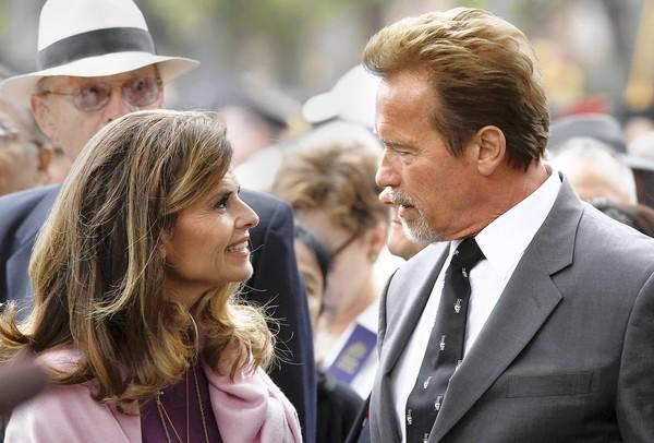 Maria Shriver and Arnold Schwarzenegger are shown at USC's commencement ceremonies in May 2012.