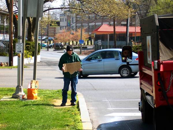 Homeless people find Hamilton Boulevard at Cedar Crest Boulevard a convenient location for panhandling. This recent visitor's sign said 'homeless / please help.'