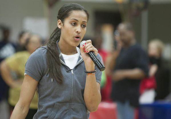 Notre Dame women's basketball star Skylar Diggins is recognized and congratulated by her local fans, friends and family inside the Martin Luther King Center on Thursday night.
