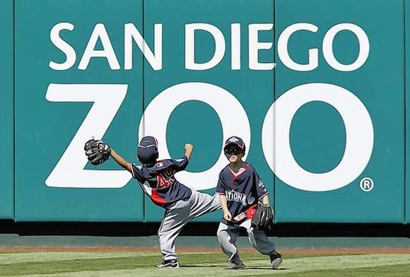 Children play baseball at San Diego Zoo