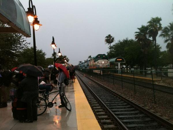 Commuters were stuck in the rain when put off a Tri-Rail train that broke down at the Pompano Beach station