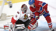Craig Anderson made 48 saves in a spectacular performance as the visiting Ottawa Senators beat the Montreal Canadiens, 4-2, Thursday night in Game 1 of their playoff series.