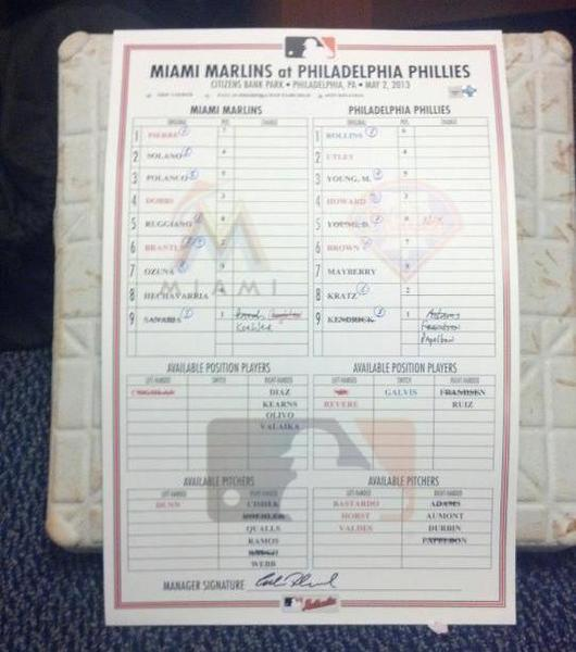 The Marlins' Juan Pierre stole third base for his 600th steal in the first inning Friday in Philadelphia, and was presented with the base and the lineup card. (Courtesy Miami Marlins)