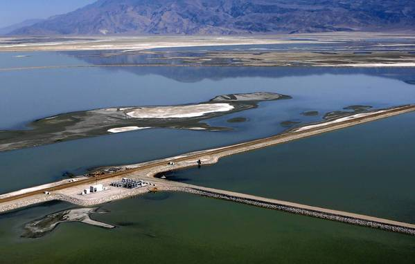 An aerial view of Owens Lake, which has largely been drained since the water that historically fed it was diverted toward the Los Angeles Aqueduct. Dust on the lake bed has created health and environmental hazards.