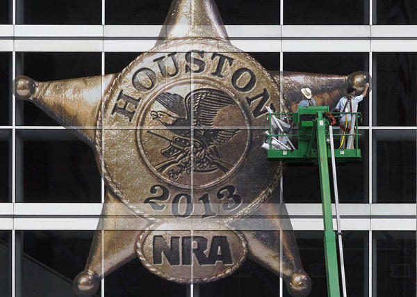 The George R. Brown Convention Center in Houston is prepared for the annual convention of the National Rifle Assn. The event, which begins Friday, is expected to draw more than 70,000 people.