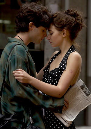 "Penn Badgley and Imogen Poots in ""Greetings From Tim Buckley."""