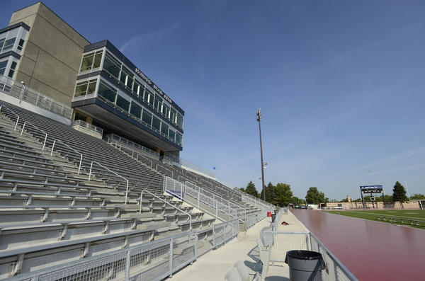 View of the new bleachers, press box and partially completed track at the renovated Howard Wood Field, Aug 22, 2012. ..(Elisha Page / Argus Leader)