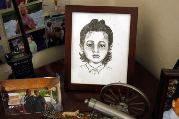 In his office, Sheriff Tom Dart keeps a sketch of Melanie Beltran, who died in 2007. Her mother, Mila Petrov, pleaded guilty in the case. Petrov's half sister is charged in a separate death.