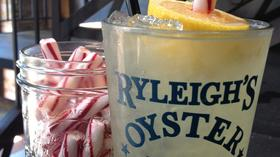 A lemon stick in a glass at Ryleigh's Oyster