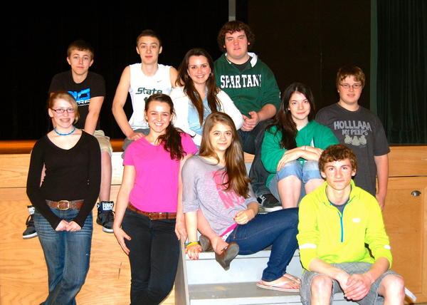 "The cast of Concord Boyne's ""Beauty and the Beast"" includes (back row, from left) Noah Jergenson, Caleb Laskowski, Savannah Walker, Trenton Sulak; (front row) Hannah Irwin, Sydney Drew, Adreanna Seagraves, Amanda Grimes, Spencer Swanson and Nathan Priest."