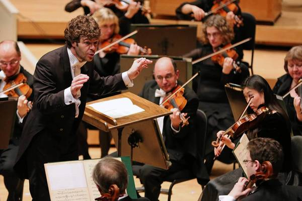 Spanish conductor Pablo Heras-Casado leads the Chicago Symphony Orchestra Thursday, May 2, 2013 at the Symphony Center in Chicago.