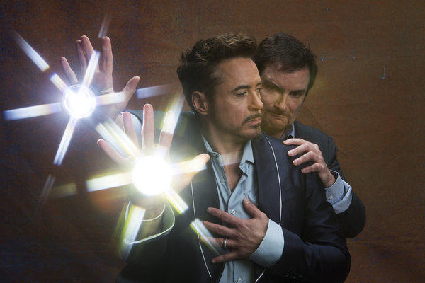 Star of 'Iron Man 3,' Robert Downey Jr. and director Shane Black.