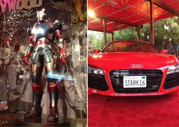 Props from the film Iron Man 3 are on display at Planet Hollywood at Downtown Disney
