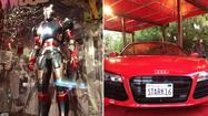 "Two major props used in the filming of ""Iron Man 3"" are on display at the Planet Hollywood at Downtown Disney."