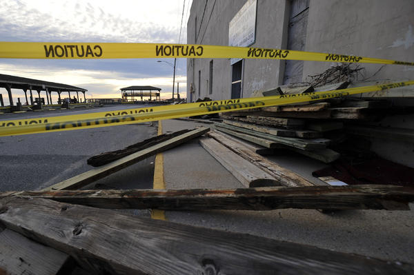 Caution tape seals off the City Dock in Crisfield that was damaged by Superstorm Sandy.