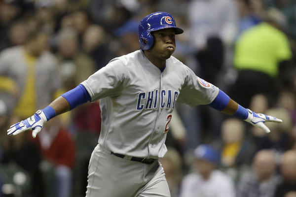 Chicago Cub Luis Valbuena celebrates a solo home run on April 19.