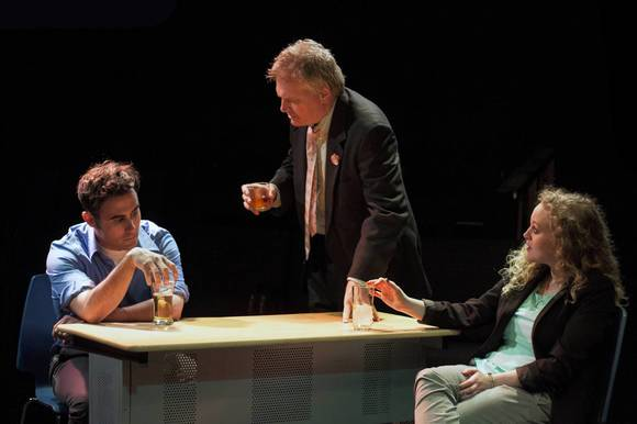 "Michael Salinas, left, Jim Poole and Caroline Neff in ""The Knowledge"" at Steep Theatre."