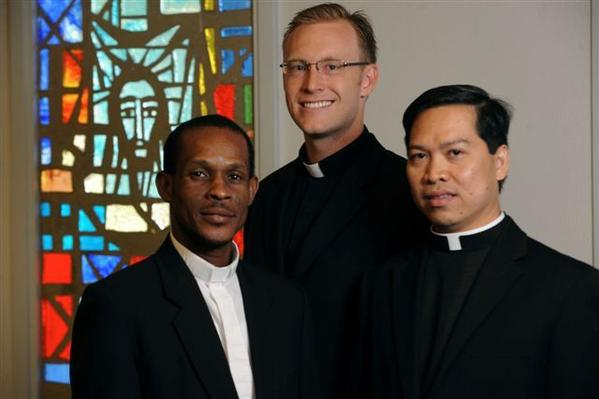 Seminarians Pierre-Soul Estefont, Michael Cairnes and Dennis Gonzales. They are three of the four seminarians at St. Vincent de Paul Regional Seminary in Boynton Beach ordained in May.