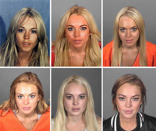 Lindsay Lohan booking photos.
