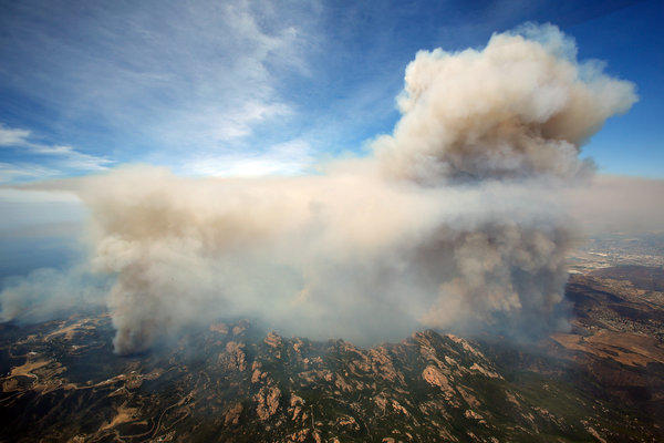 An aerial view of the Springs fire burning in the Santa Monica Mountains between Malibu and Newbury Park on Friday.